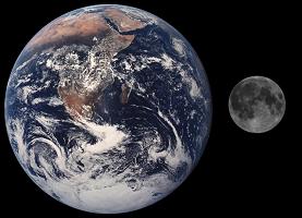 Imagem da Terra e Lua em comparação